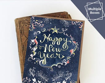 starry happy new year boxed sets of greeting cards happy new year cards paper goods stationery stars multiple boxes discount