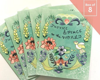 Justice and Peace Card - BOX of 8 holiday cards, New Year, christmas card, unique cards, no justice no peace blm card