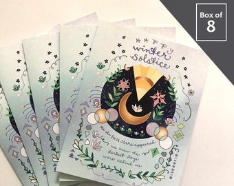 Winter Solstice Card - BOX of 8 holiday cards, yuletide xmas, happy solstice, winter solstice greeting card