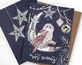 Owl Birthday Card - owl lantern greeting card, owl card, paper lanterns, pretty birthday cards, starry
