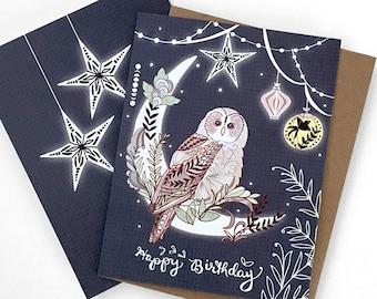 Owl Birthday Card - owl lantern greeting card, owl card, paper lanterns, pretty birthday cards, starry