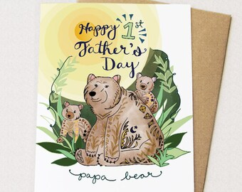 First Father's Day Card, Papa Bear, Father's Day Greeting Card, Dad Greeting Card, Happy Fathers Day, Bear card, Papa Bear dad, paper goods