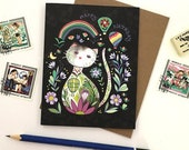 Cat Birthday Card - Rainbow Cat birthday, greeting cards, Happy Birthday Cat