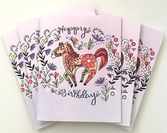 Horse Folk Card - Horse birthday card, horse greeting card, horses, flower cards, greeting cards, paper goods