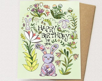 Bunny Folk Card - Bunny birthday card, bunny card, rabbits, greeting card, birthdays, paper goods