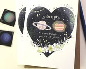 Gassy Valentine's Day Greeting Card - Gassy Planets Love Card, Valentines Day Card