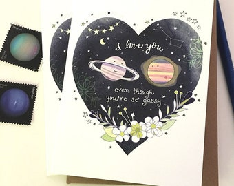 Gassy Love Greeting Card - I love you Gassy Planets Love Card, Valentines Day Card