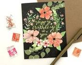 Starry Flower Birthday Card - flower greeting card, flower birthday card, garden card, starry night