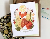 Fox Card - Birthday Sun Fox Greeting Card, birthday fox, happy birthday fox paper goods