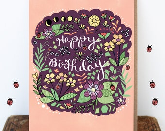 Ladybug Flower Card, Ladybug Card, Card, Birthday Greeting Cards, Flower Card, Floral, Purple, Pink
