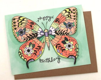 Butterfly Birthday Greeting card - butterfly card, butterfly birthday card, monarch paper goods, butterfly lover gift