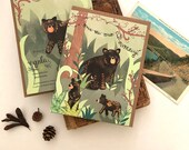 Black Bears Card - bear birthday card, black bear greeting card, forest, appalachian trail cards, greeting cards, paper goods, happy bears