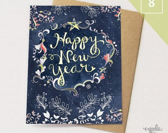 Happy new year card etsy starry happy new year box of 8 greeting cards happy new year cards paper goods stationery stars m4hsunfo