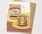 Perky Coffee - coffee birthday card, coffee greeting card, young and perky coffee grounds, coffee lover