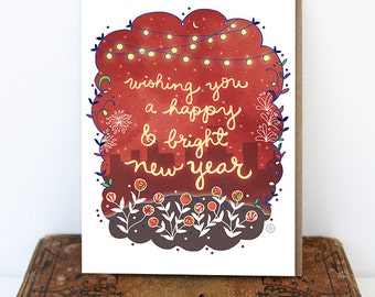 bright happy new year card holiday card new years day starry city greeting card