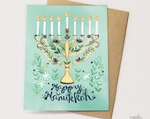 Menorah Greeting Card - Hanukkah card, holiday card, Hanukkah menorah card