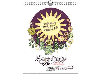 SALE Sunny Days Calendar 2018 - sun calendar - happy, sun animals, sun sayings - 2018 calendar