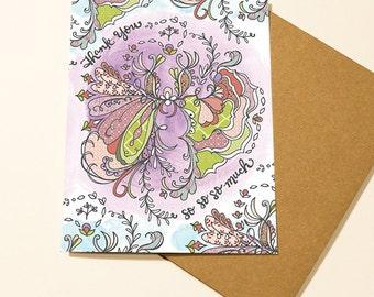 Boho Flower - thank you card, floral card