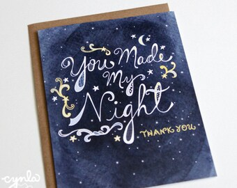 Starry Thank You Card -  You Made My Night