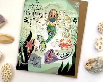 MERMAID Birthday Greeting card - mermaid card, ocean birthday card, mermaid greeting cards, magical, stingray, seahorse, crab, sea life