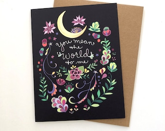 Moon Love greeting Card - valentines day card world to me, you mean the world to me, love card, romantic, friendship, vday cards, valentine