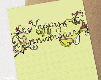 Happy Anniversary Card - anniversary card - hand lettered