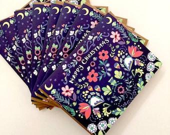 Folk Happy Christmas Card - BOX of 8 holiday cards, merry xmas, blue christmas folksy design, christmas set gift pretty flower card