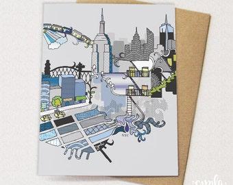 New York City Artistic Skyline Card - NYC card New York Card - blank inside