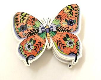 Butterfly Sticker -  monarch, orange butterflies, butterfly lover gift, 3 inch vinyl, sticker for water bottle or laptop, weather-resistant