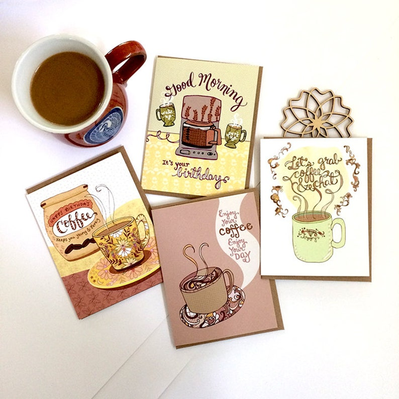 Coffee Cards Gift Set Of 8 Lover Greeting