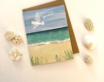 Peace Beach Card - holiday greeting card ocean dove seaside, peace card, holiday card sea