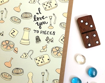 I Love you to Pieces - game card, valentines card, love card, love greeting cards