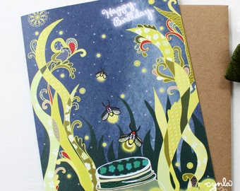 Fireflies Birthday Card - Blank inside