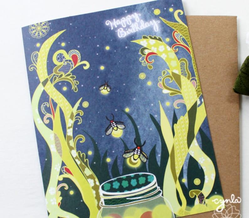 Fireflies Birthday Card  Blank inside image 0