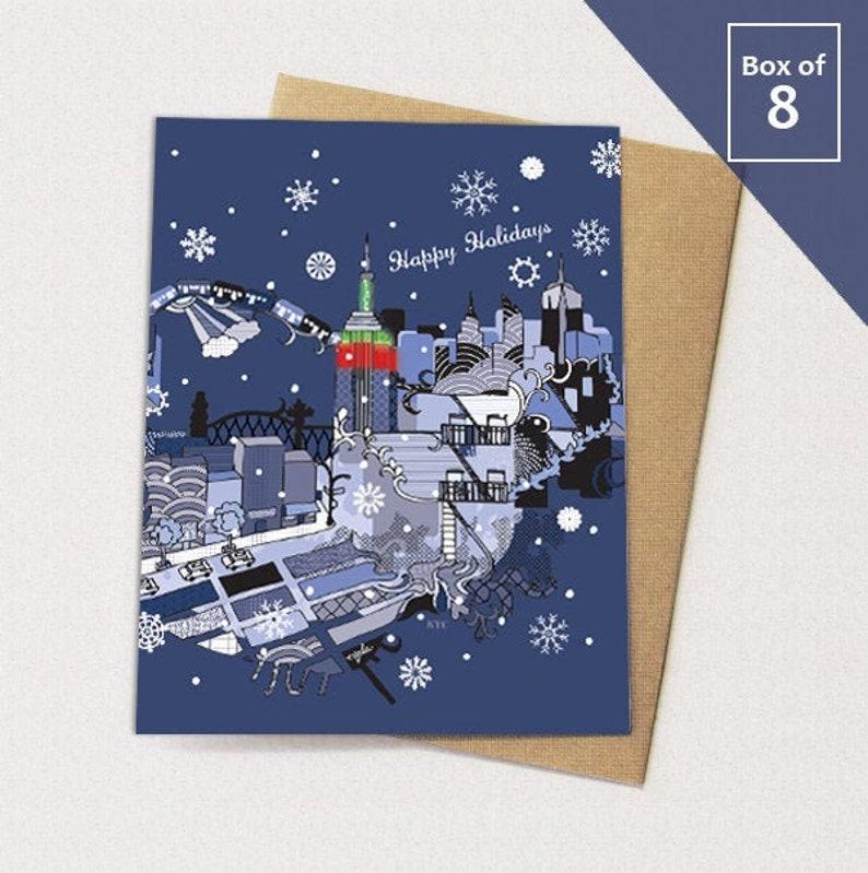 New York City Christmas Cards BOX of 8 // NYC Holiday Card image 1