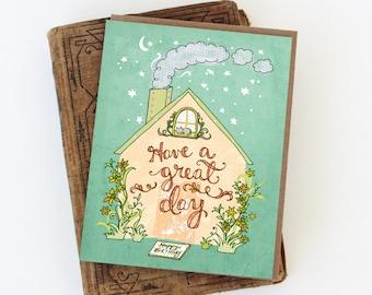 Birthday House Card - happy birthday house, birthday card, have a great day card