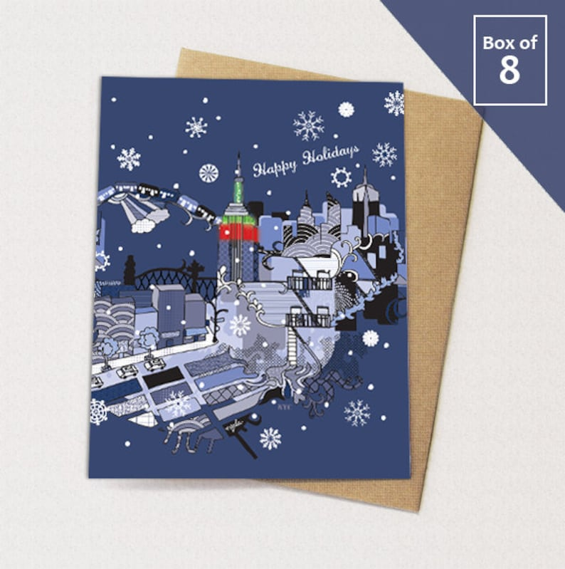 New York City Christmas Cards BOX of 8 // NYC Holiday Card image 0