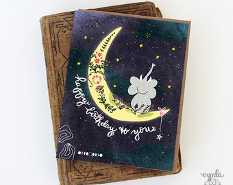 Elephant Greeting Cards Elephant Moon Card Elephant card paper goods