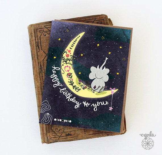 Elephant greeting cards elephant moon card elephant card paper etsy image 0 m4hsunfo