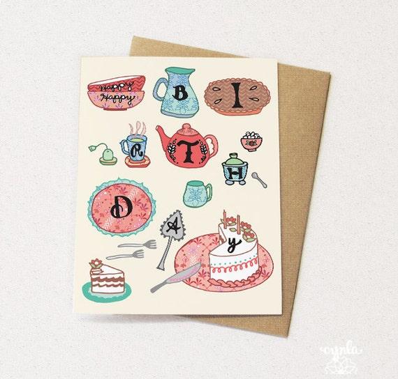 Tea Party Card Tea Greeting Card Tea Birthday Card Greeting Etsy