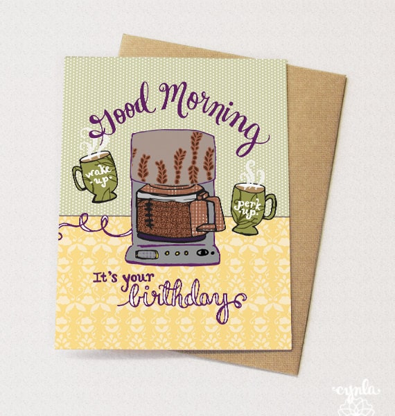 Coffee Pot Birthday Card Blank Inside