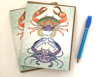 Crab Birthday Greeting card - crabs card, cancer zodiac, birthday card, crab greeting cards, red crab, ocean card, most amazing birthday