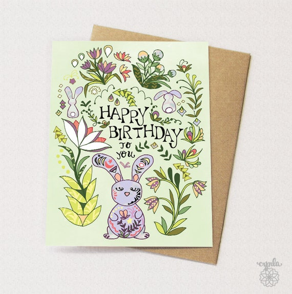 Bunny Folk Card Bunny Birthday Card Bunny Card Rabbits Etsy