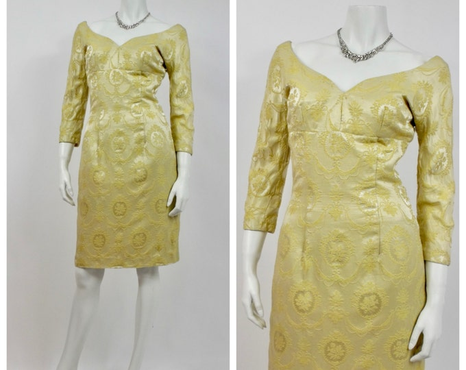 1950's Gold Brocade Wiggle Dress - Vintage Cocktail Dress - Old Hollywood - Empire Waist - Hourglass - Yellow Brocade -  Off The Shoulder