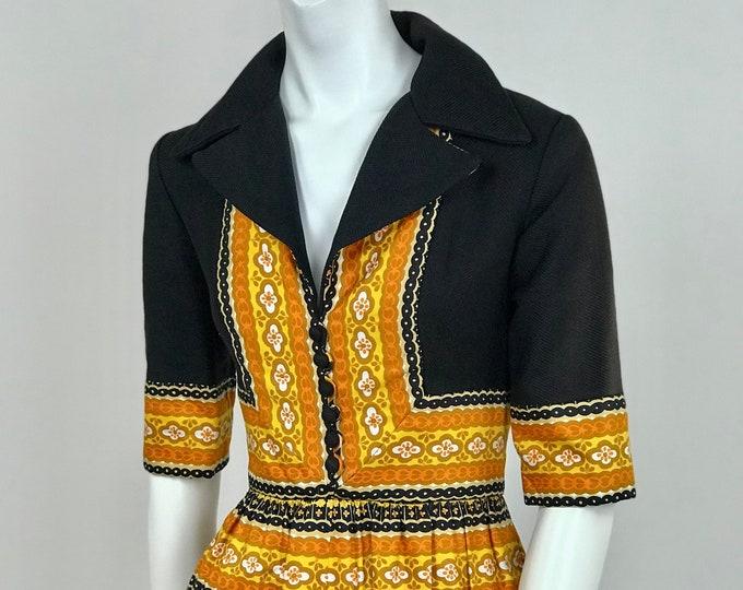 Designer Vintage 1970's Oscar De la Renta Boutique Paisley Border Print Palazzo Pant Jumpsuit - Ladies Size Small