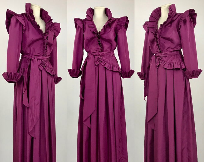 Vintage 1980's Fuchsia Taffeta Two Piece Evening Gown - Portrait Collar with Deep Plunge - Ruffles - Pleated Maxi Skirt - Ladies size 8