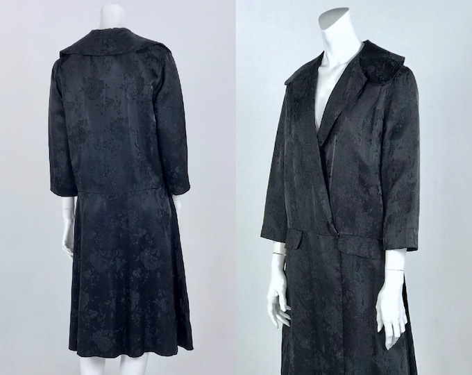 Vintage Late 1930's to Early 1940's Black Satin Brocade Opera Coat with Drop Waist, 3/4 Sleeve, Fully Lined in Black Taffeta - Bust 40""