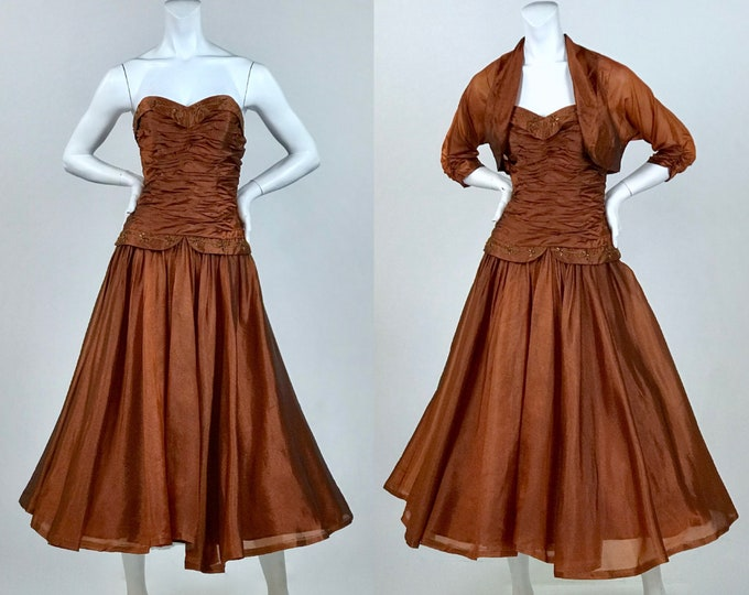 1950's Copper Organza Cupcake Prom Dress with Matching Cropped Jacket - Strapless Cocktail Dress - Pin Up Style - Ladies Size Extra Small