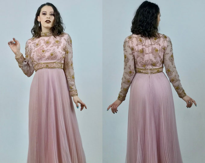 1960's Hand Beaded Pink Chiffon Evening Gown - Pleated Chiffon Skirt - High Collar - Glass Beads - Impeccable Quality - Ladies Size Small