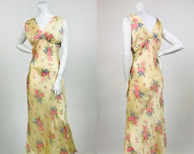 Vintage 1940's Bias Cut Floral Satin Nightgown - Blush Nightie with Floral Print - Blouson Bust - 40's Lingerie - Current Size Medium